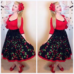 Top ~ Dangerfield Skirt ~ Pinup Girl Clothing Jenny Skirt in Cherry Border Print Shoes ~ BAIT Footwear