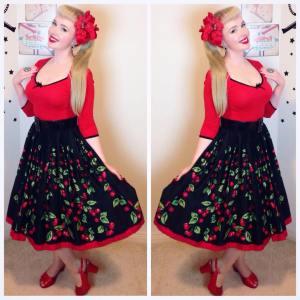 Top ~ Dangerfield Skirt ~ Pinup Girl Clothing Jenny Skirt in Cherry Border Print Shoes ~ BAIT Footwear